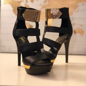 Black and Gold High Heel Sandals